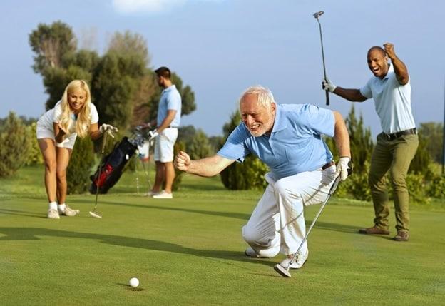 golfer's celebrating a good put